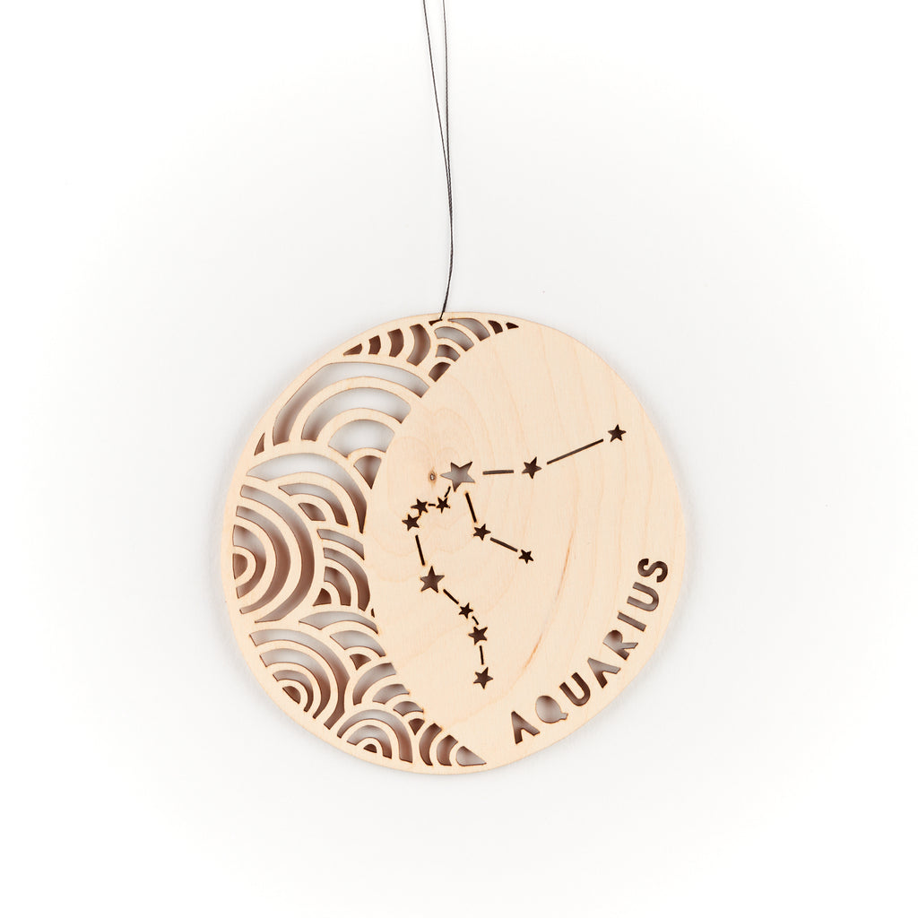 Lasercut Aquarius Astrology Birch Wood Ornament, by Light + Paper, Made in Toronto