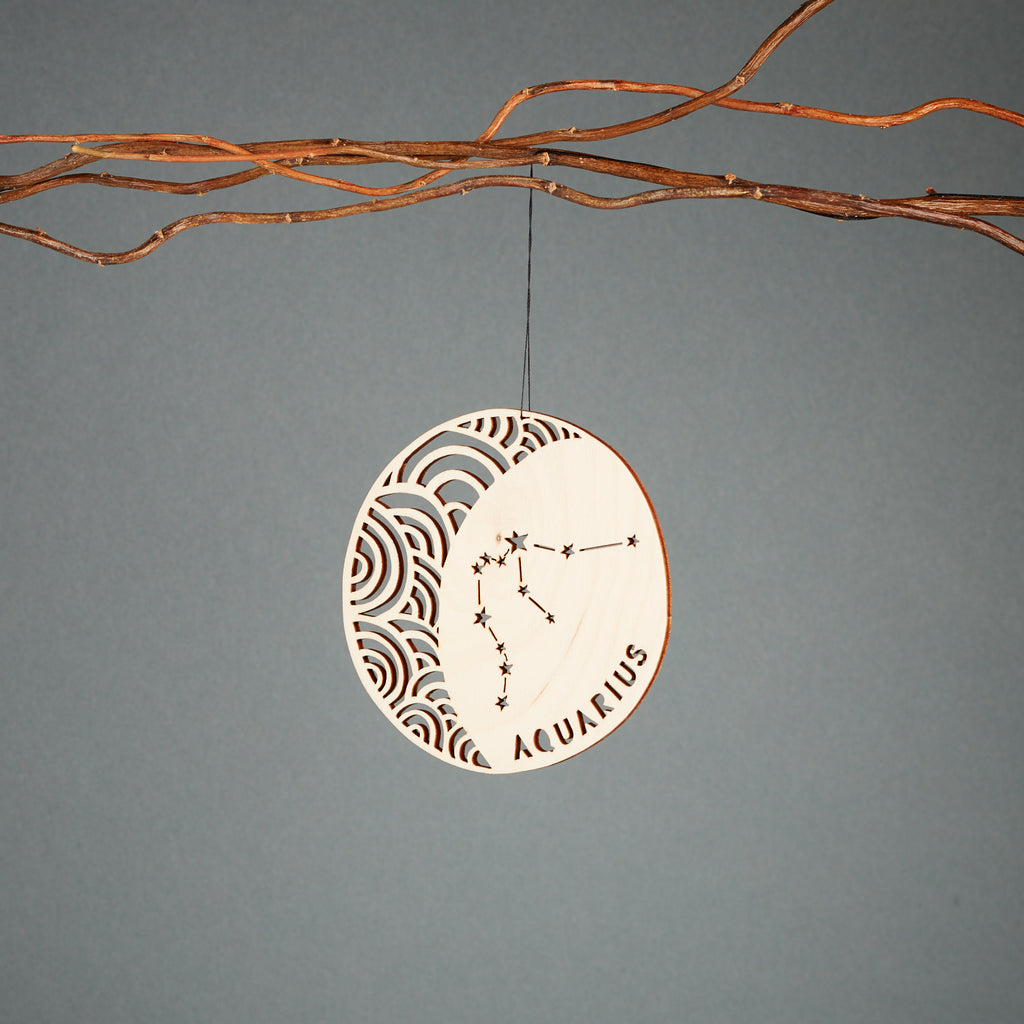 Aquarius - Astrology Ornament - Lasercut Birch