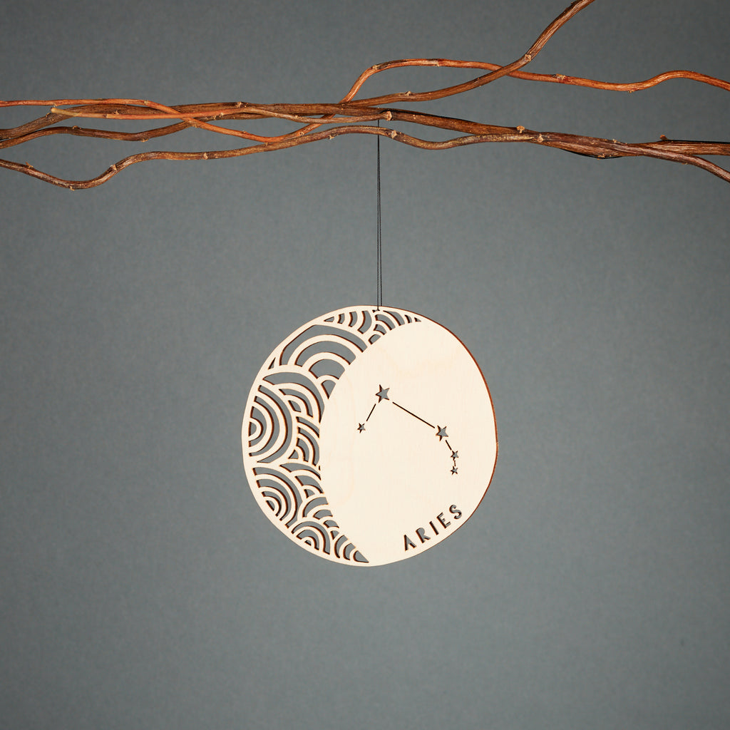 Lasercut Aries Astrology Birch Wood Ornament, by Light + Paper, Made in Toronto