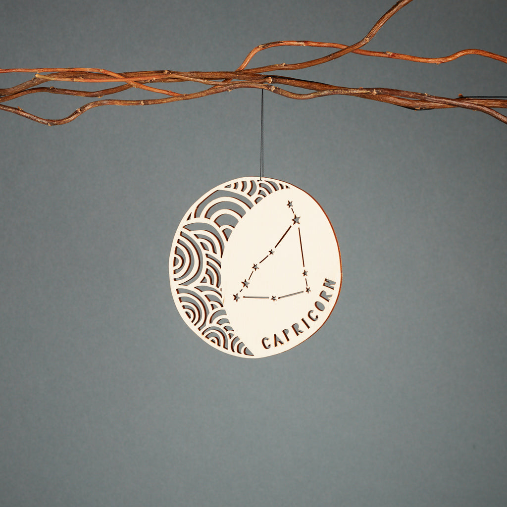Lasercut Birch Wood Capricorn Astrology Ornament, by Light + Paper, Made in Toronto