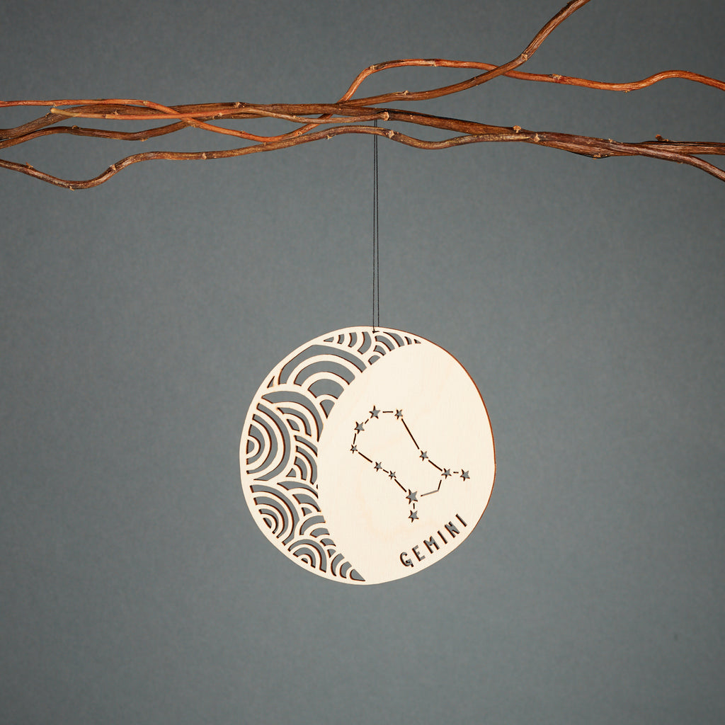 Gemini - Astrology Ornament - Lasercut Birch