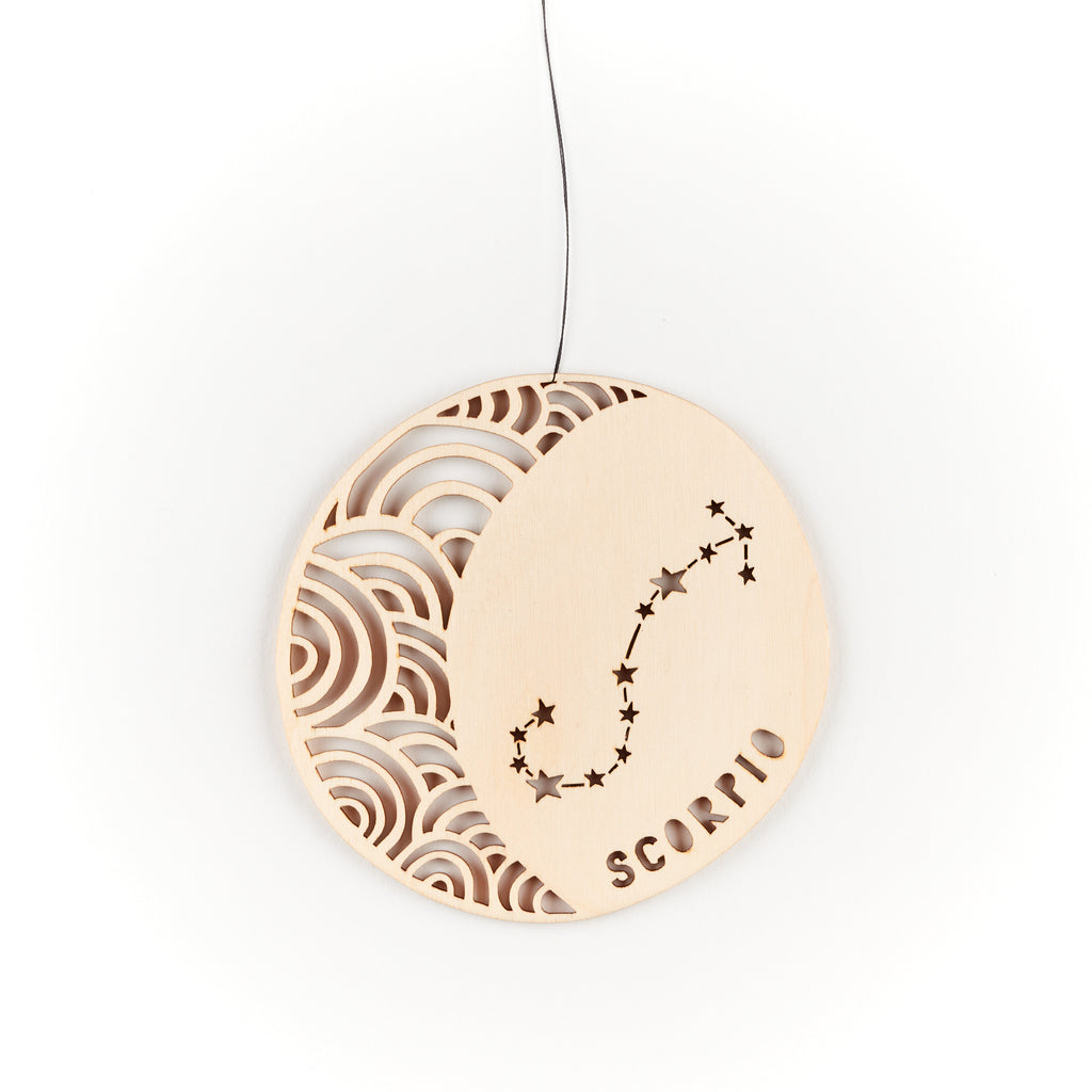 Scorpio - Astrology Ornament - Lasercut Birch