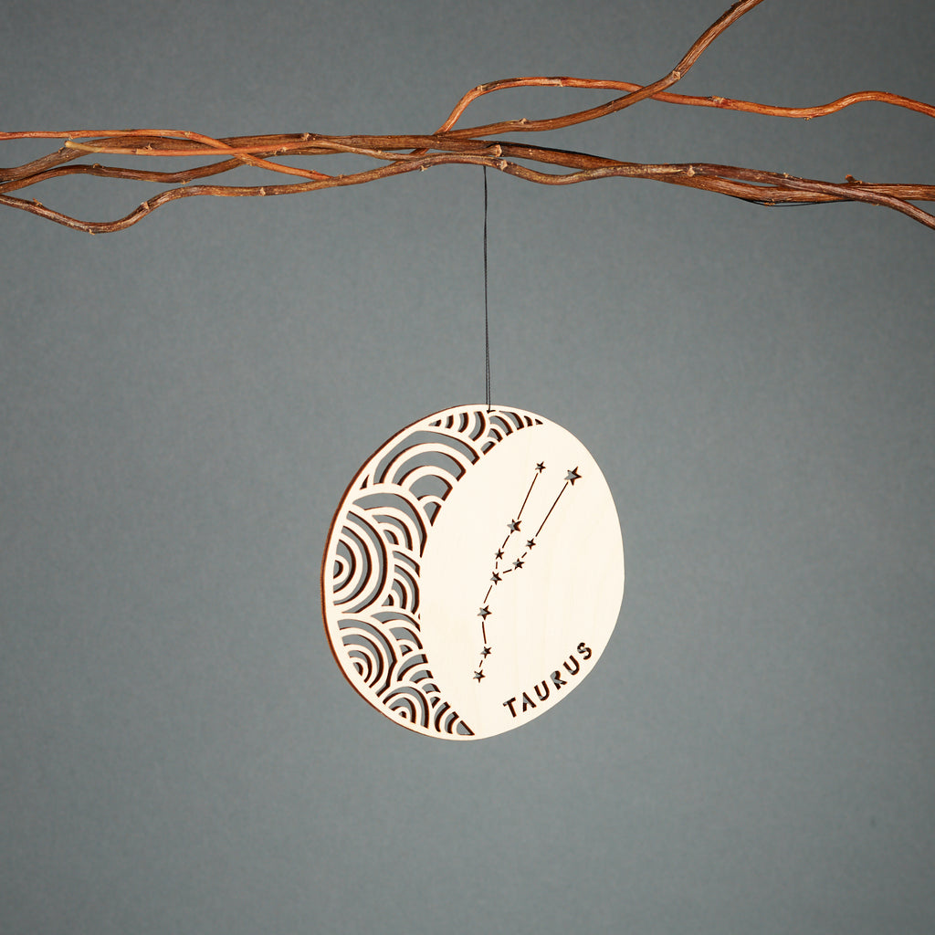 Taurus - Astrology Ornament - Lasercut Birch