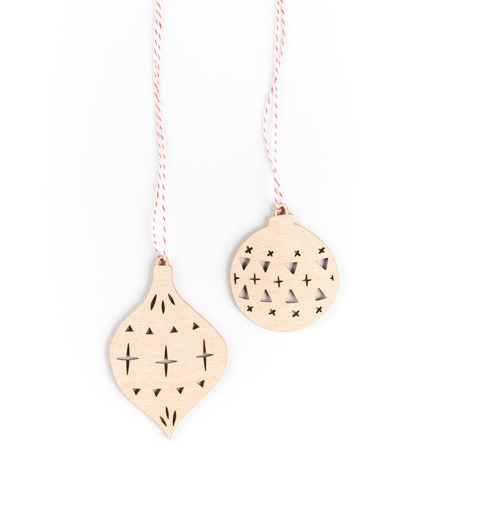 Holiday Ball Ornaments- Lasercut Birch (set of 2)