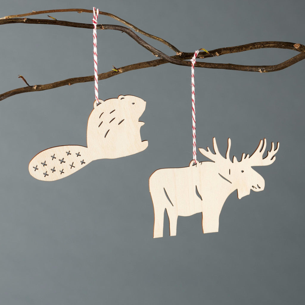 Lasercut Birch Wood Beaver and Moose Ornaments, by Light + Paper, Made in Toronto