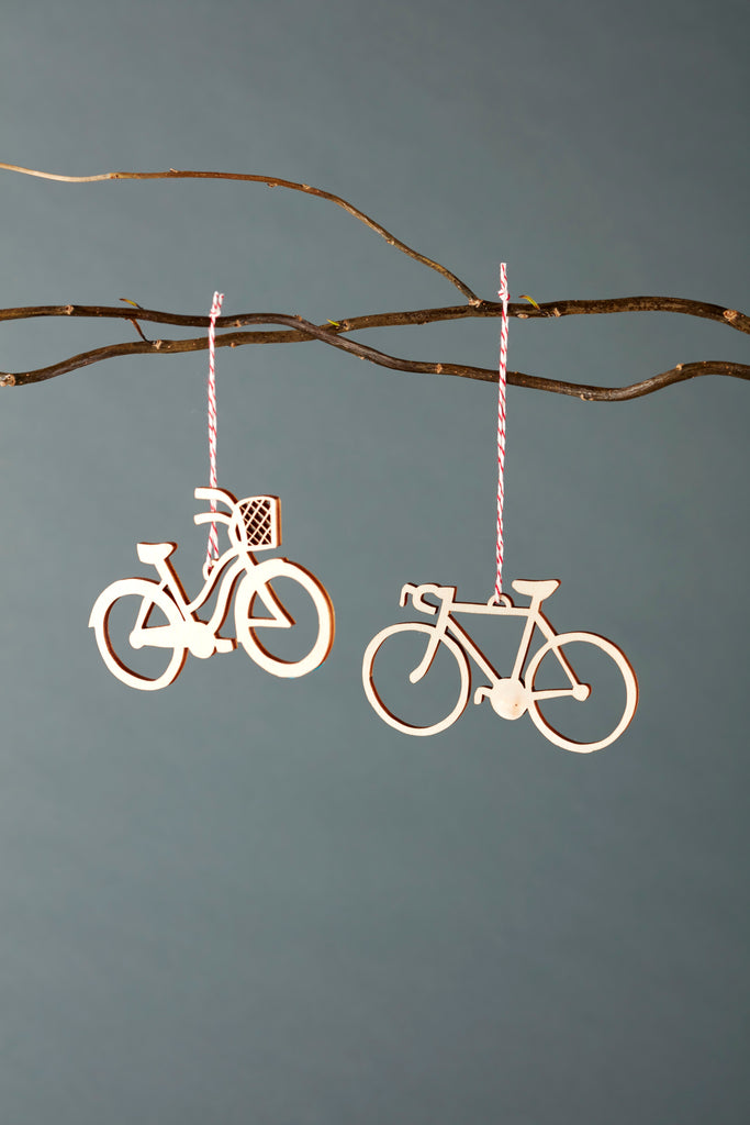 Lasercut Birch Wood Cruiser and Road Bike Ornaments, by Light + Paper, Made in Toronto