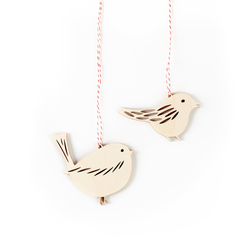 Tiny Bird Ornaments- Lasercut Birch (set of 2)