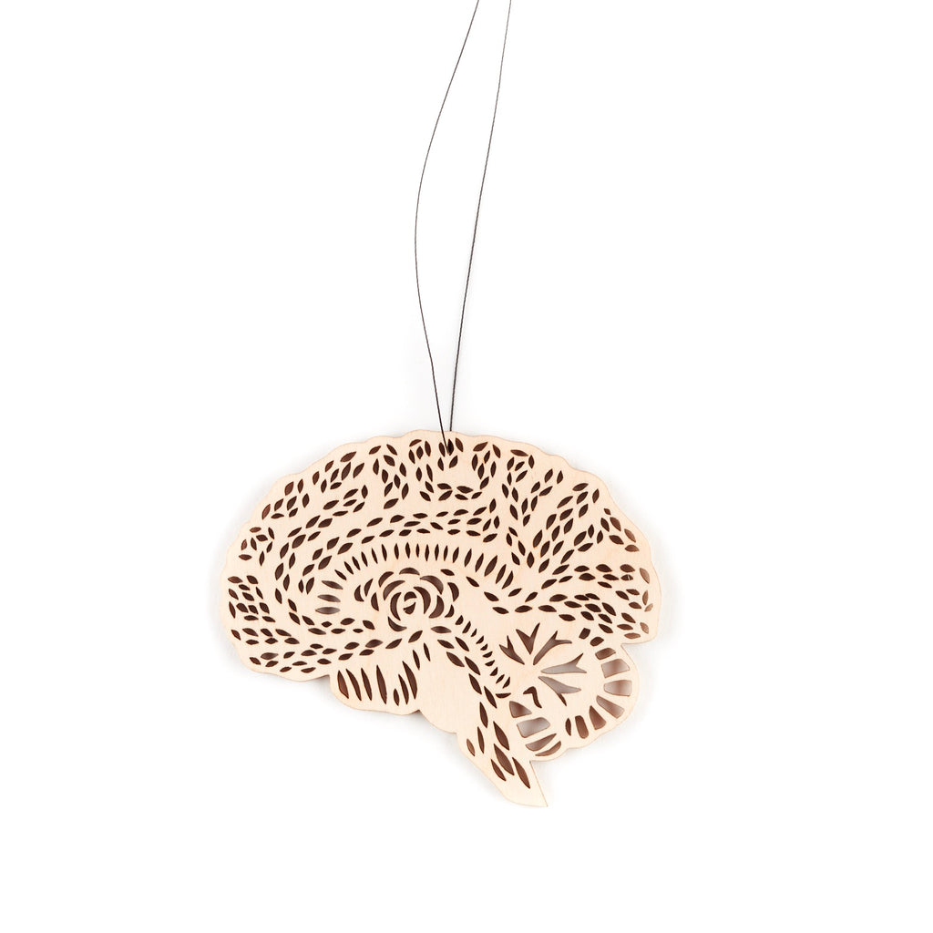 Lasercut Birch Wood Anatomical Brain Ornament, by Light + Paper, Made in Toronto