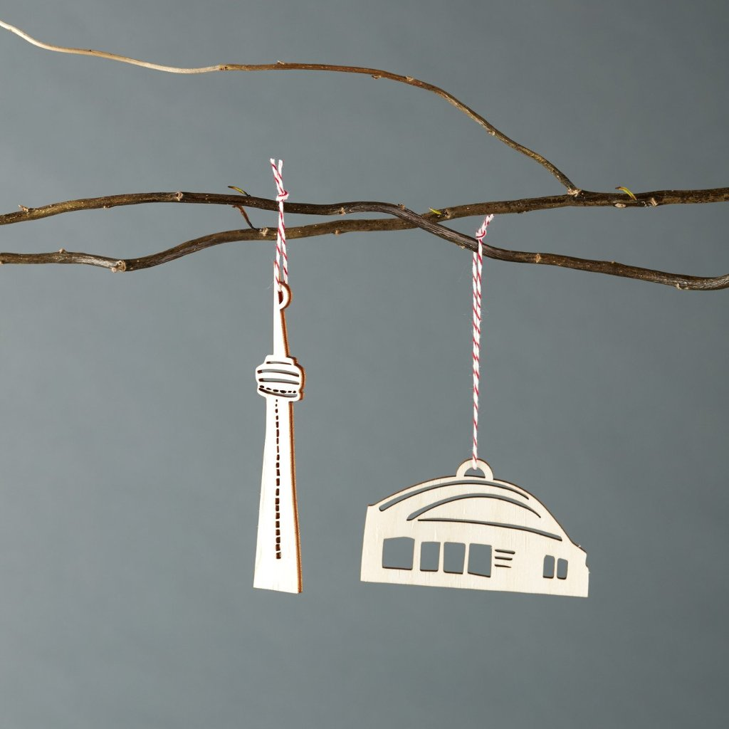 Lasercut Birch Wood CN Tower and Dome  Ornaments, by Light + Paper, Made in Toronto