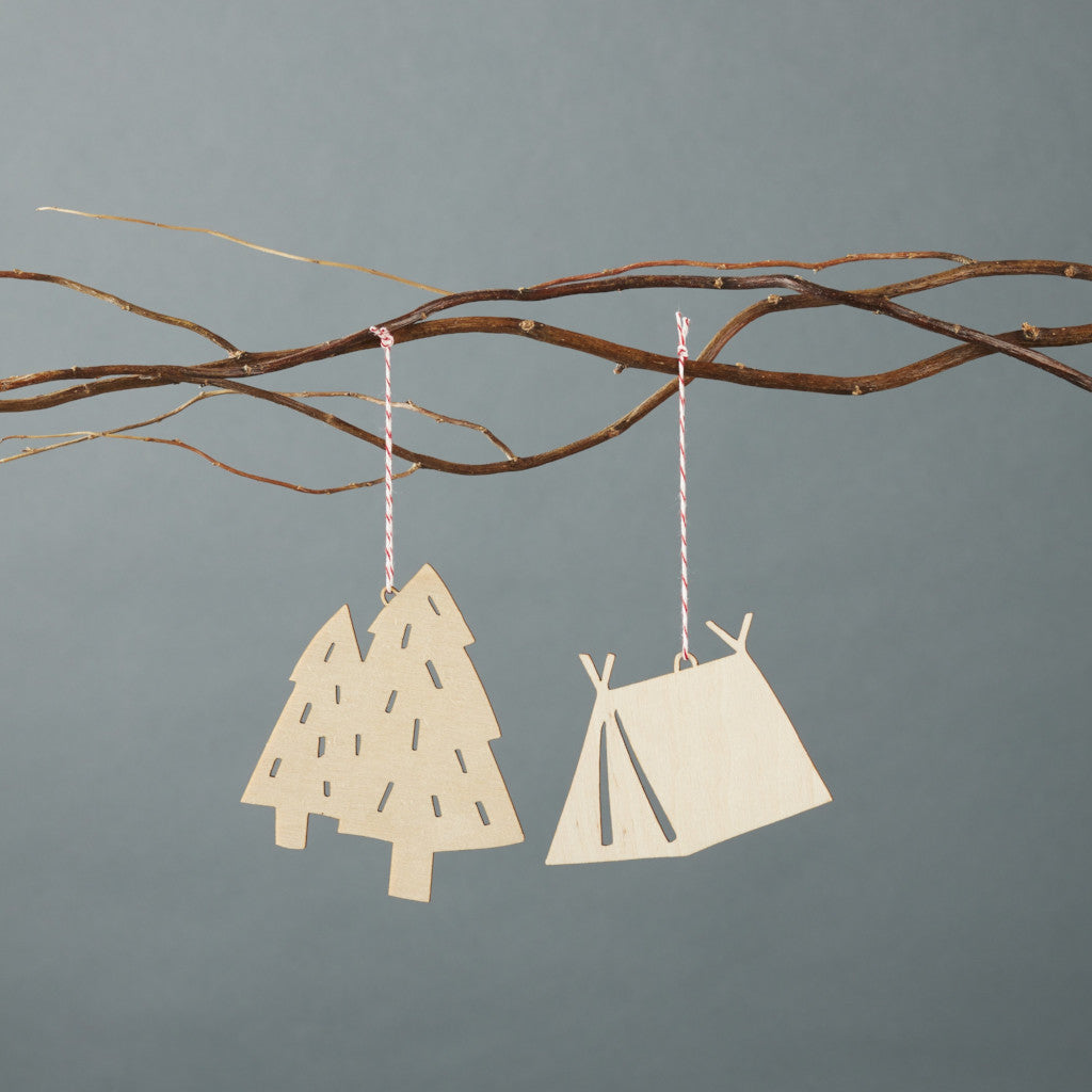 Tent x Tree Ornaments- Lasercut Birch (set of 2)