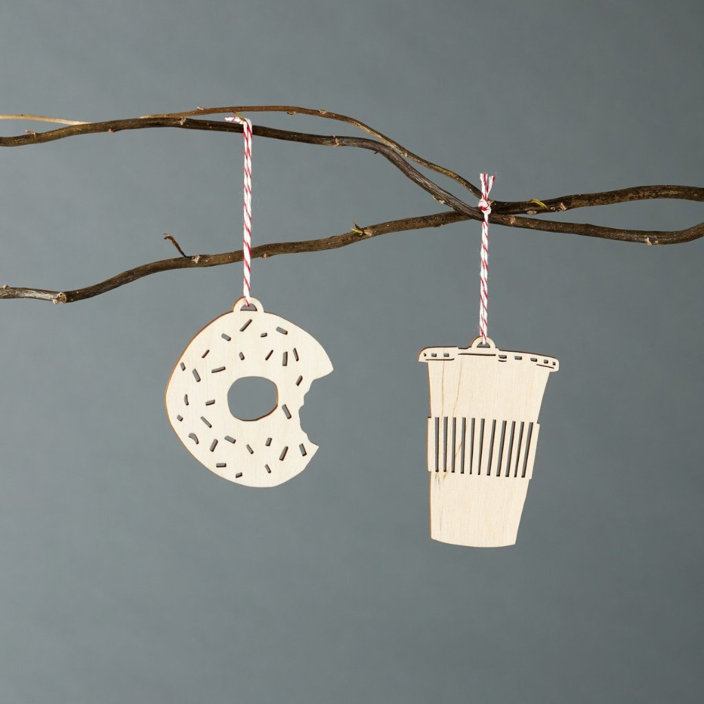 Doughnut and Coffee Ornaments
