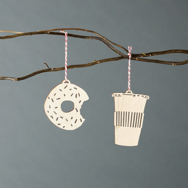 Doughnut and Coffee Ornaments- Lasercut Birch (set of 2)