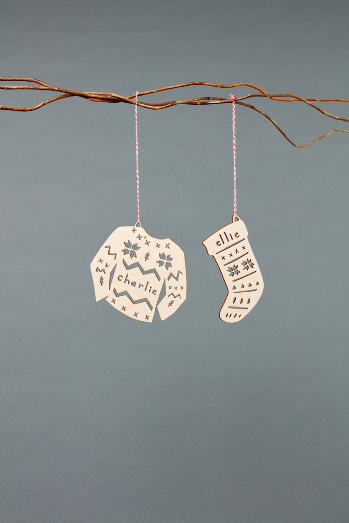 Lasercut Customizable Birch Wood Stocking Ornament, by Light + Paper, Made in Toronto