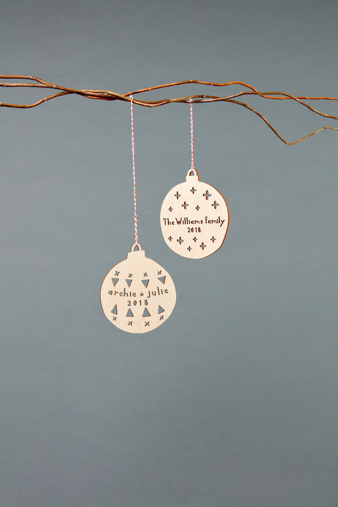Lasercut Customizable Birch Wood Ball Ornaments, by Light + Paper, Made in Toronto
