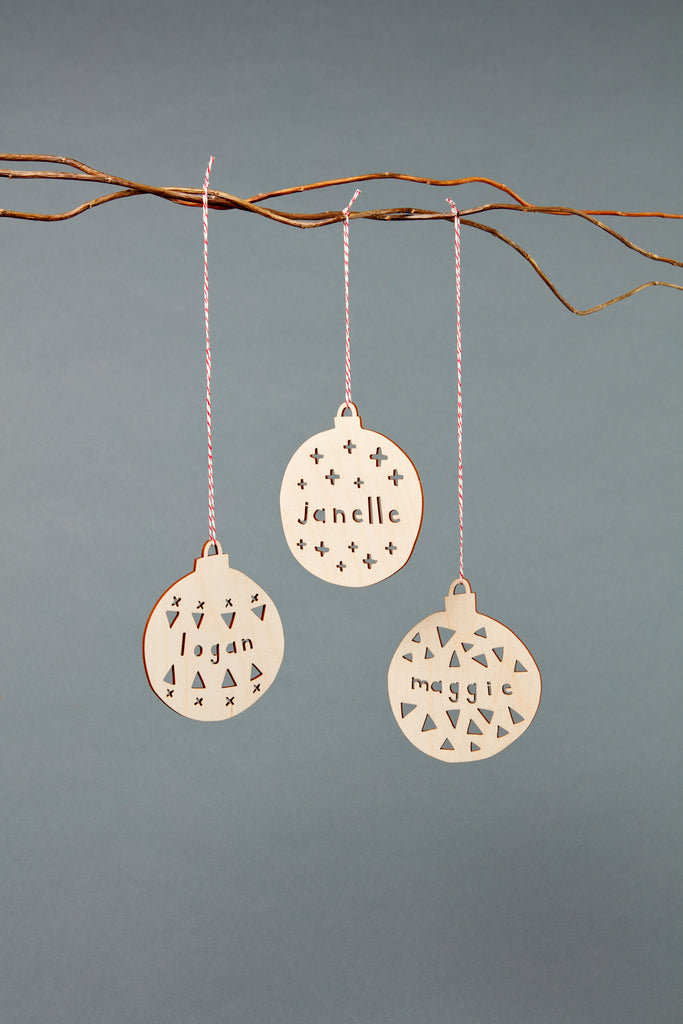 Custom Holiday Deco Trim Ball Ornament- Lasercut Birch