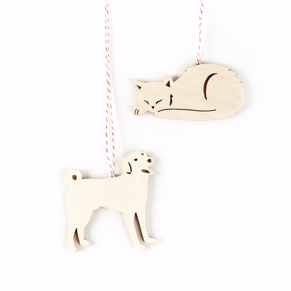Dog and Cat Ornaments- Lasercut Birch (set of 2)