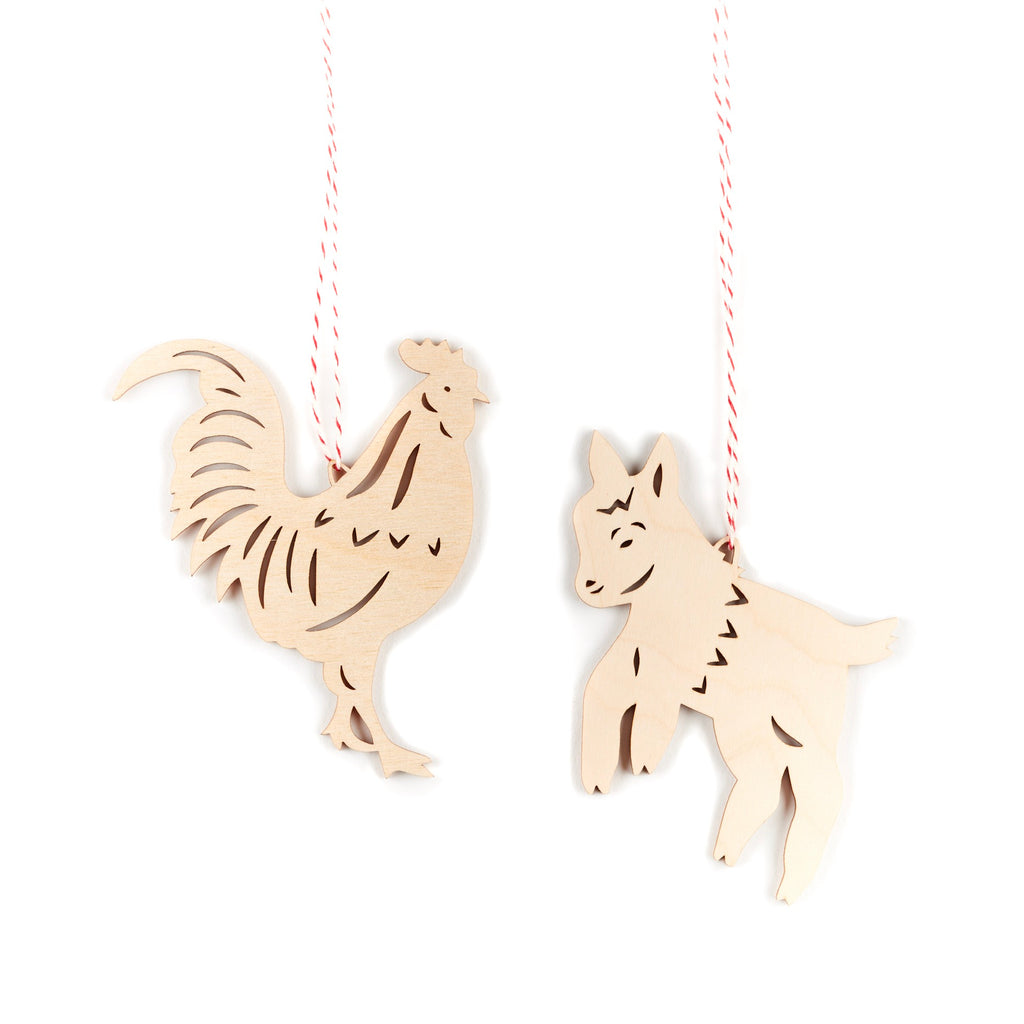 Goat and Rooster Farm Ornaments- Lasercut Birch (set of 2)