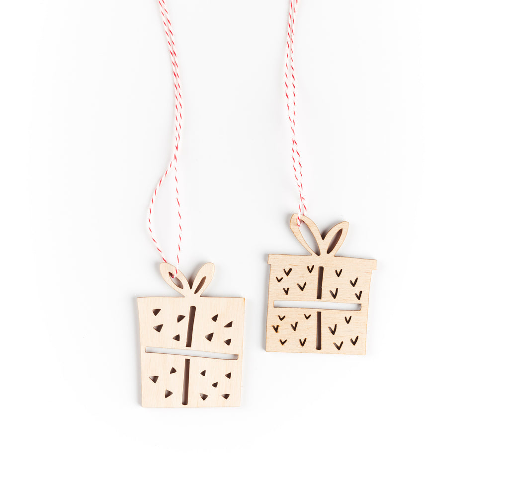 Gift Ornaments- Lasercut Birch (set of 2)