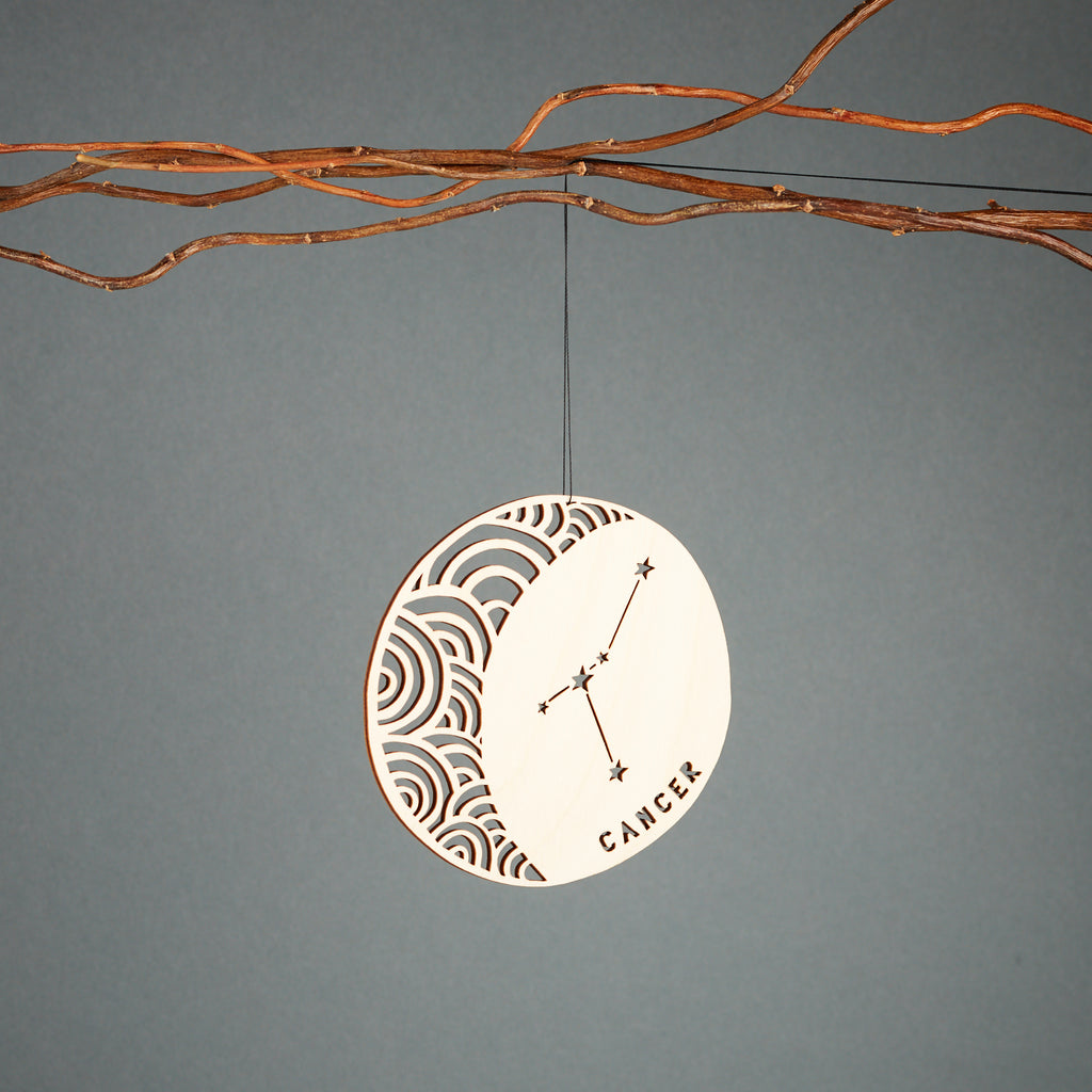Lasercut Birch Wood Cancer Astrology Ornament, by Light + Paper, Made in Toronto