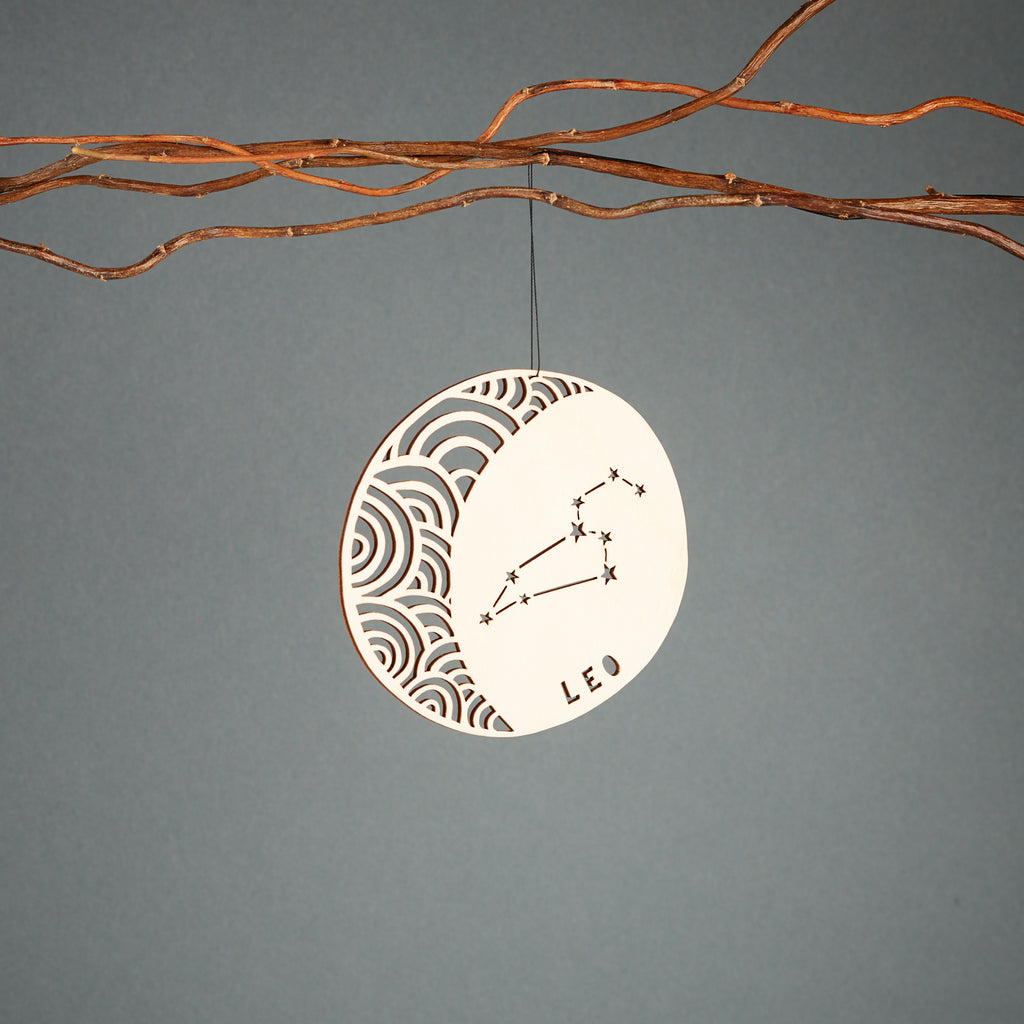 Leo - Astrology Ornament - Lasercut Birch