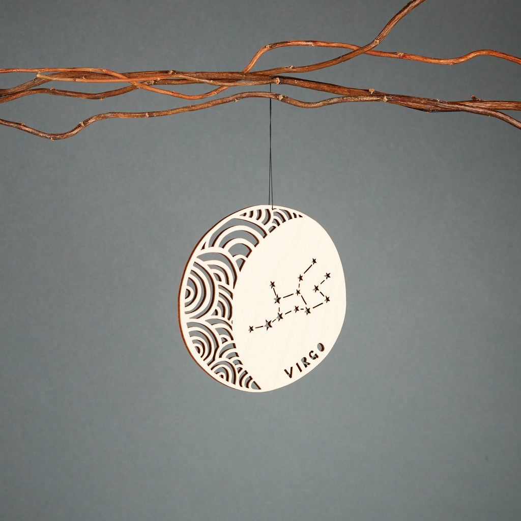 Virgo - Astrology Ornament - Lasercut Birch