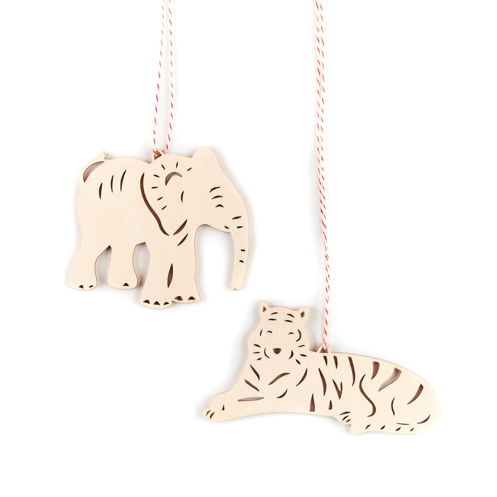 Tiger and Elephant Ornaments