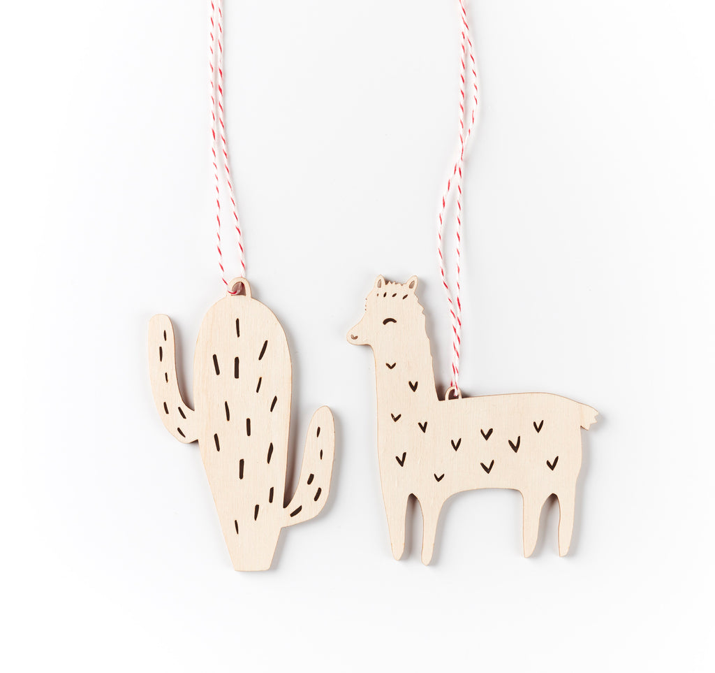 Lasercut Birch Wood Cactus and Llama Ornaments, by Light + Paper, Made in Toronto