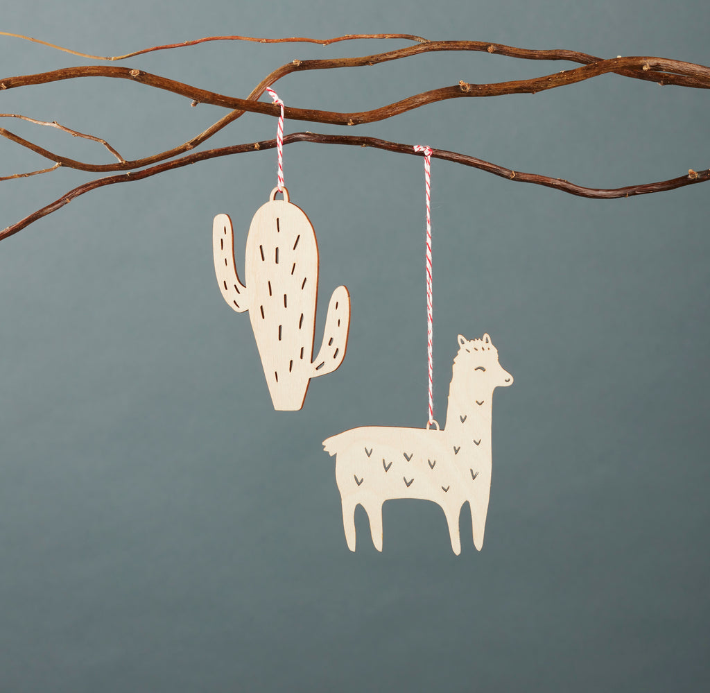Lasercut Birch Wood Cactus Plant Ornament, by Light + Paper, Made in Toronto