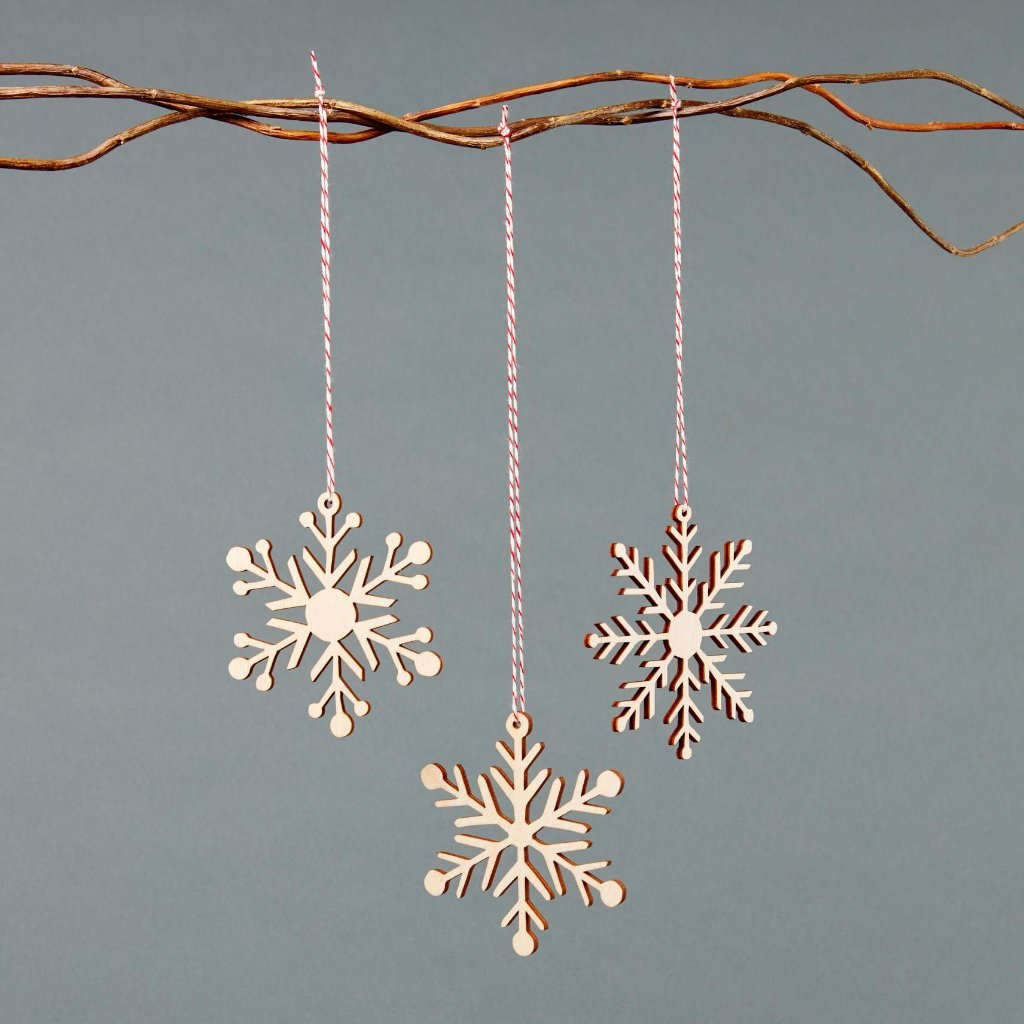 Snowflakes 2 Ornaments- Lasercut Birch (set of 3)