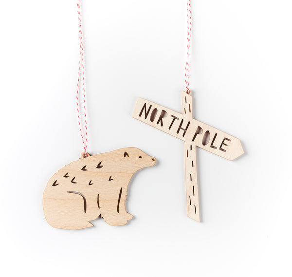 Polar Bear x North Pole Ornaments- Lasercut Birch (set of 2)