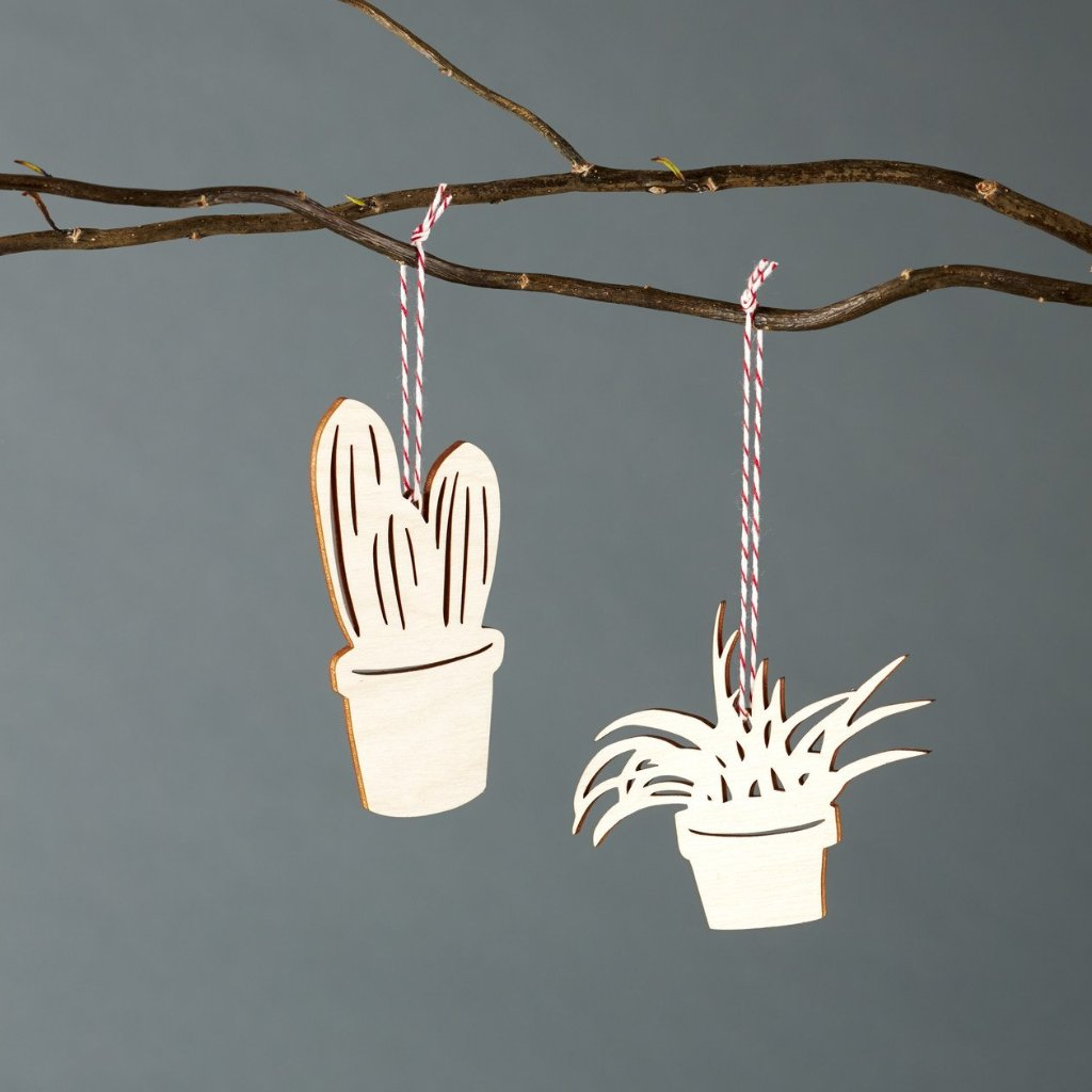 Cactus and Plant Ornaments- Lasercut Birch (set of 2)