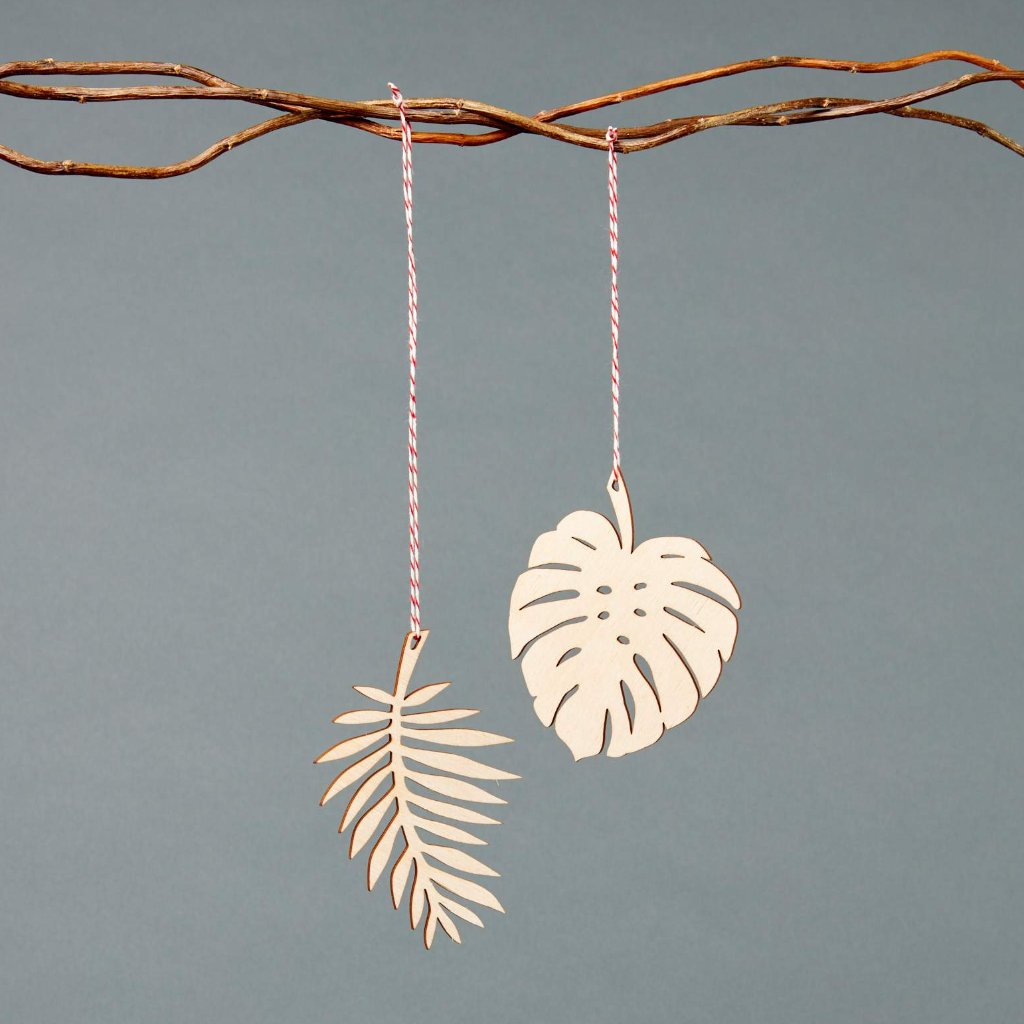 Monstera and Palm Leaves Ornaments- Lasercut Birch (set of 2)