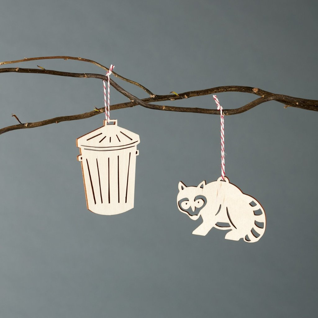Raccoon and Trash Ornaments- Lasercut Birch (set of 2)