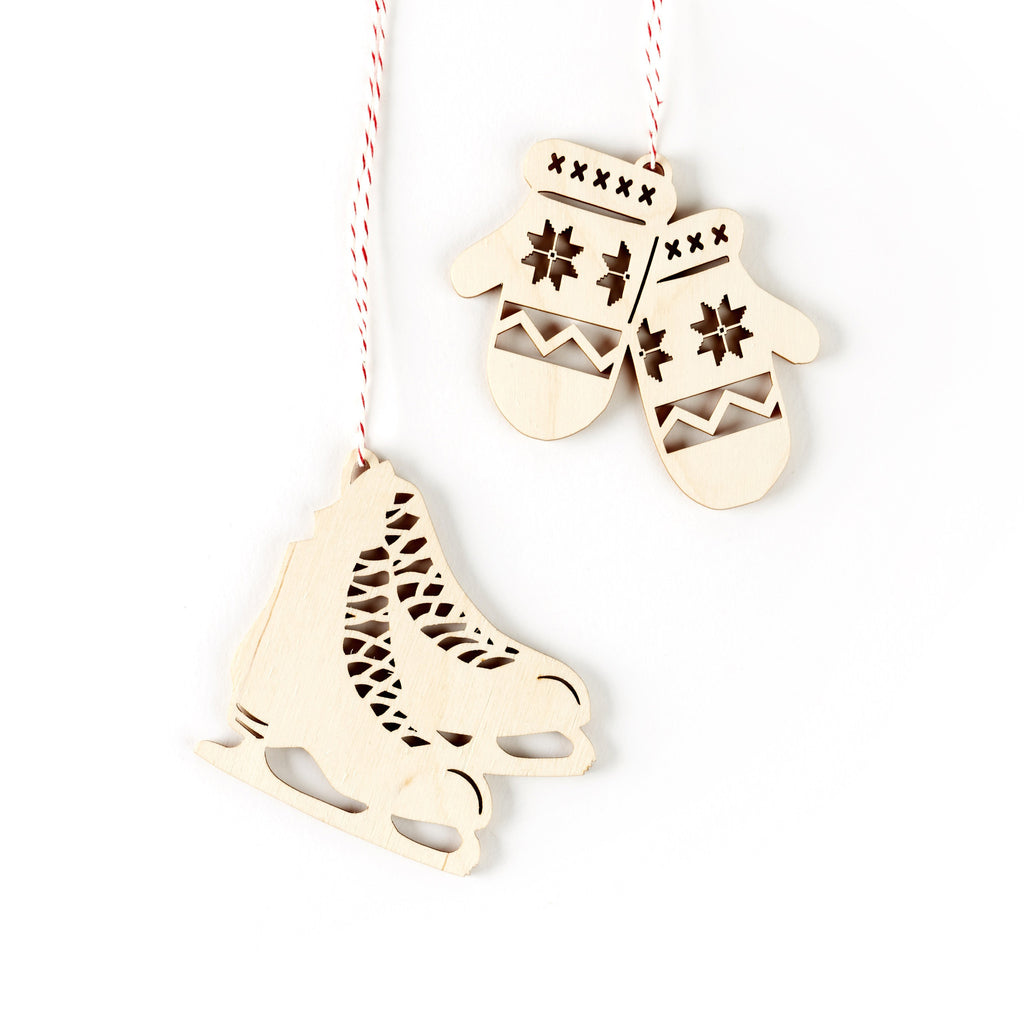 Skate and Mitten Ornaments- Lasercut Birch (set of 2)