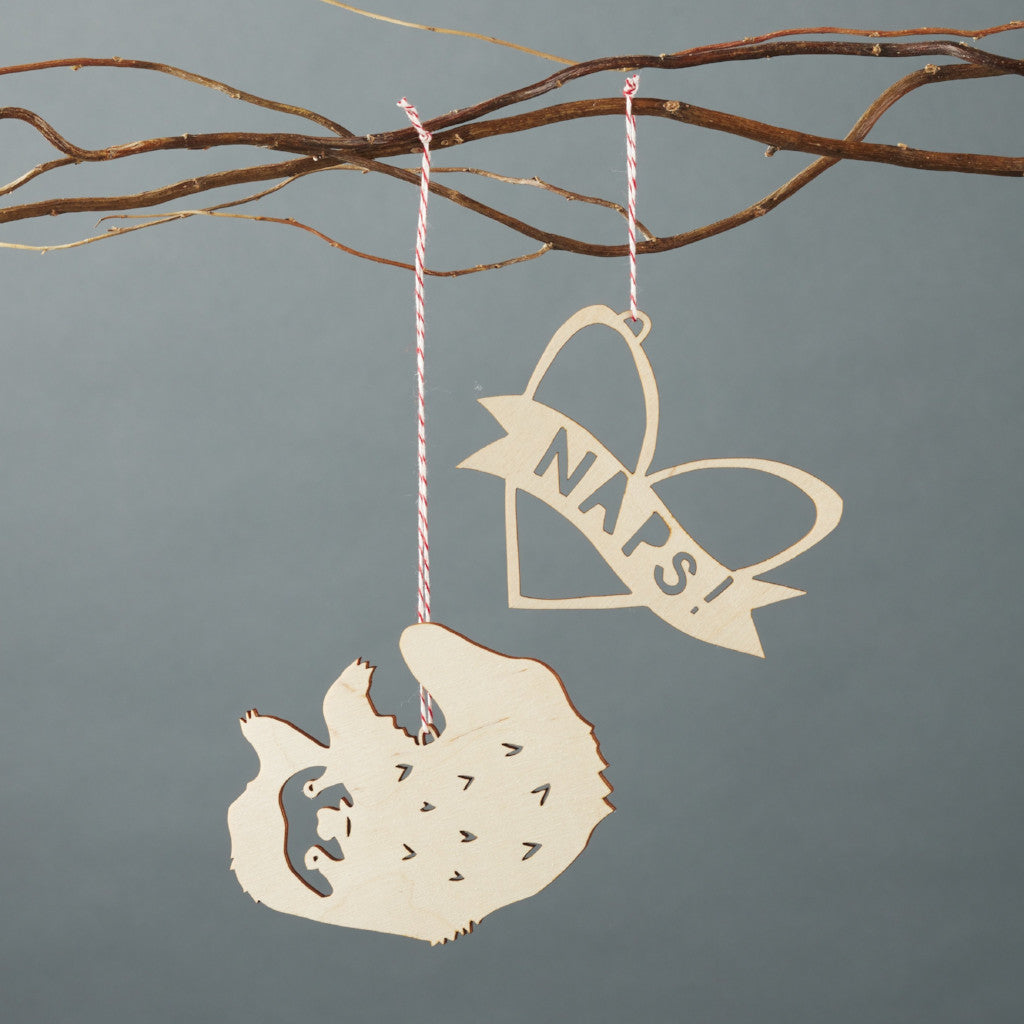 Sloth x Naps Ornaments- Lasercut Birch (set of 2)
