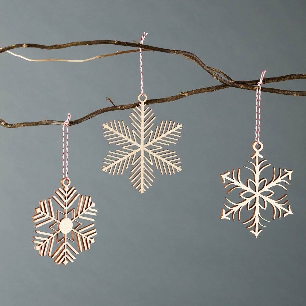 Snowflakes 1 Ornaments- Lasercut Birch (set of 3)
