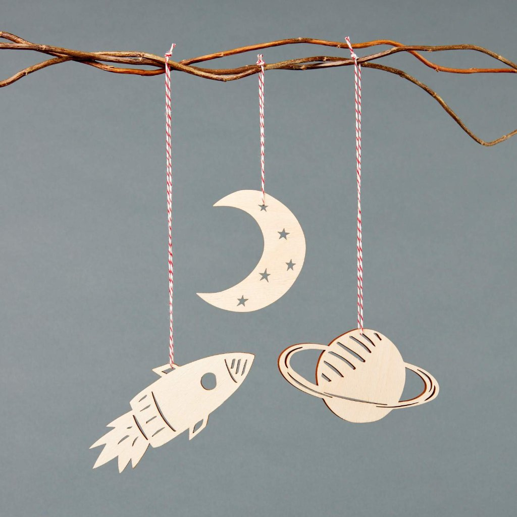 Space Ornaments- Lasercut Birch (set of 3)