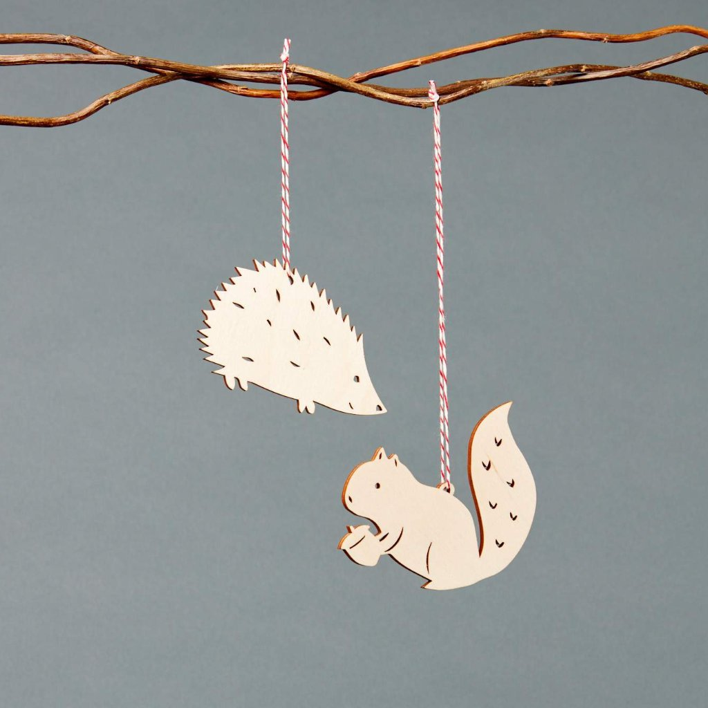 Hedgehog and Squirrel Ornaments- Lasercut Birch (set of 2)