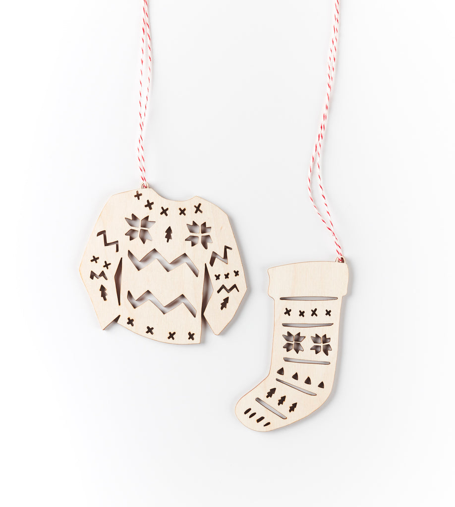 Lasercut Birch Wood Sweater and Stocking Ornaments, by Light + Paper, Made in Toronto