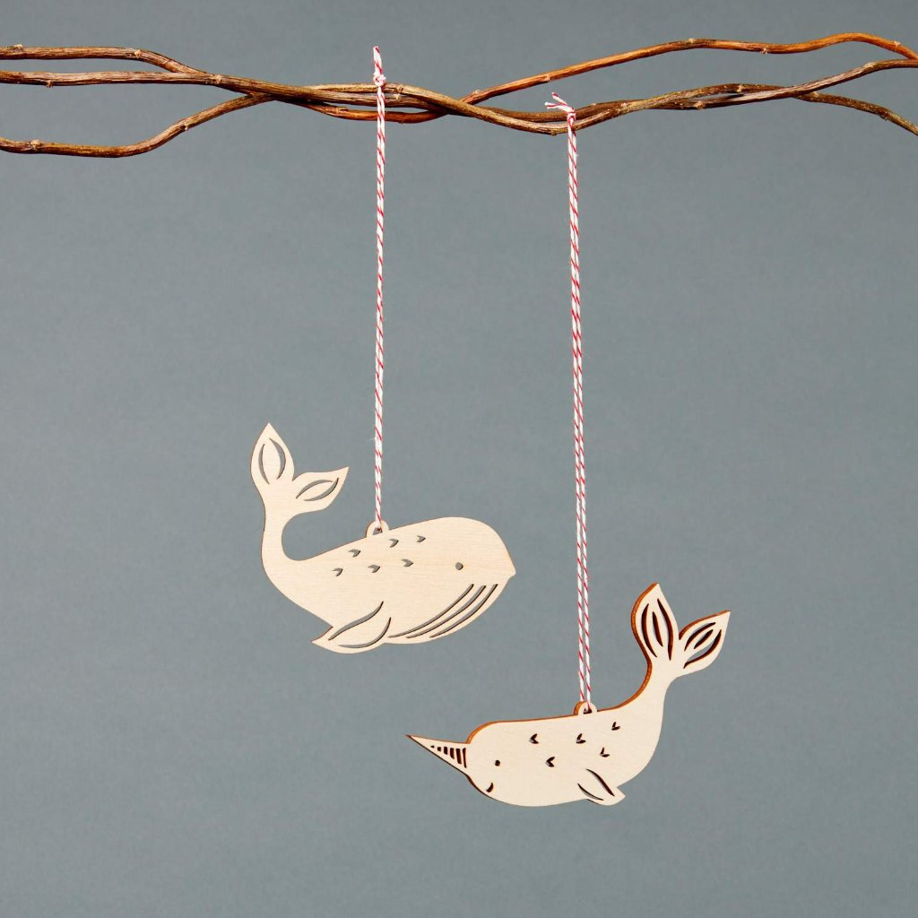 Whale and Narwhal Ornaments- Lasercut Birch (set of 2)