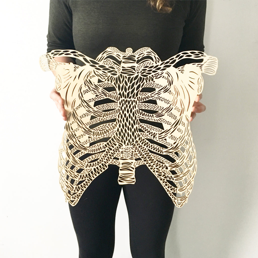 Lasercut Birch Wood Ribs Artwork, by Light + Paper, Made in Toronto