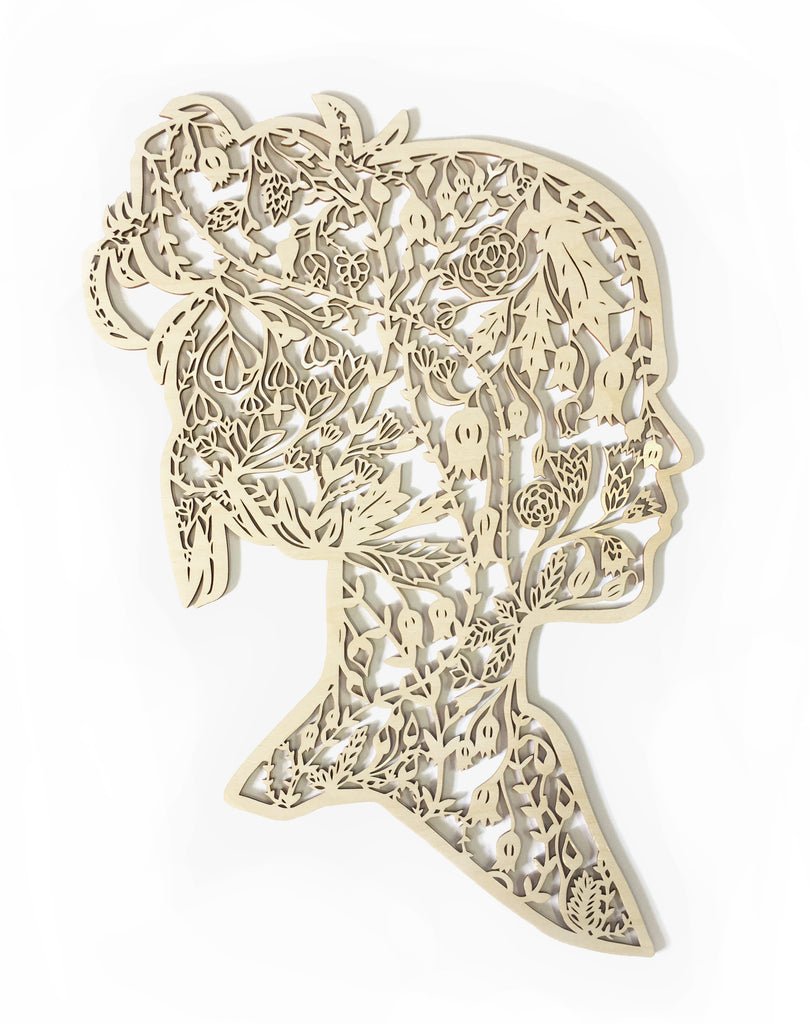 Floral Silhouette Wooden Artwork