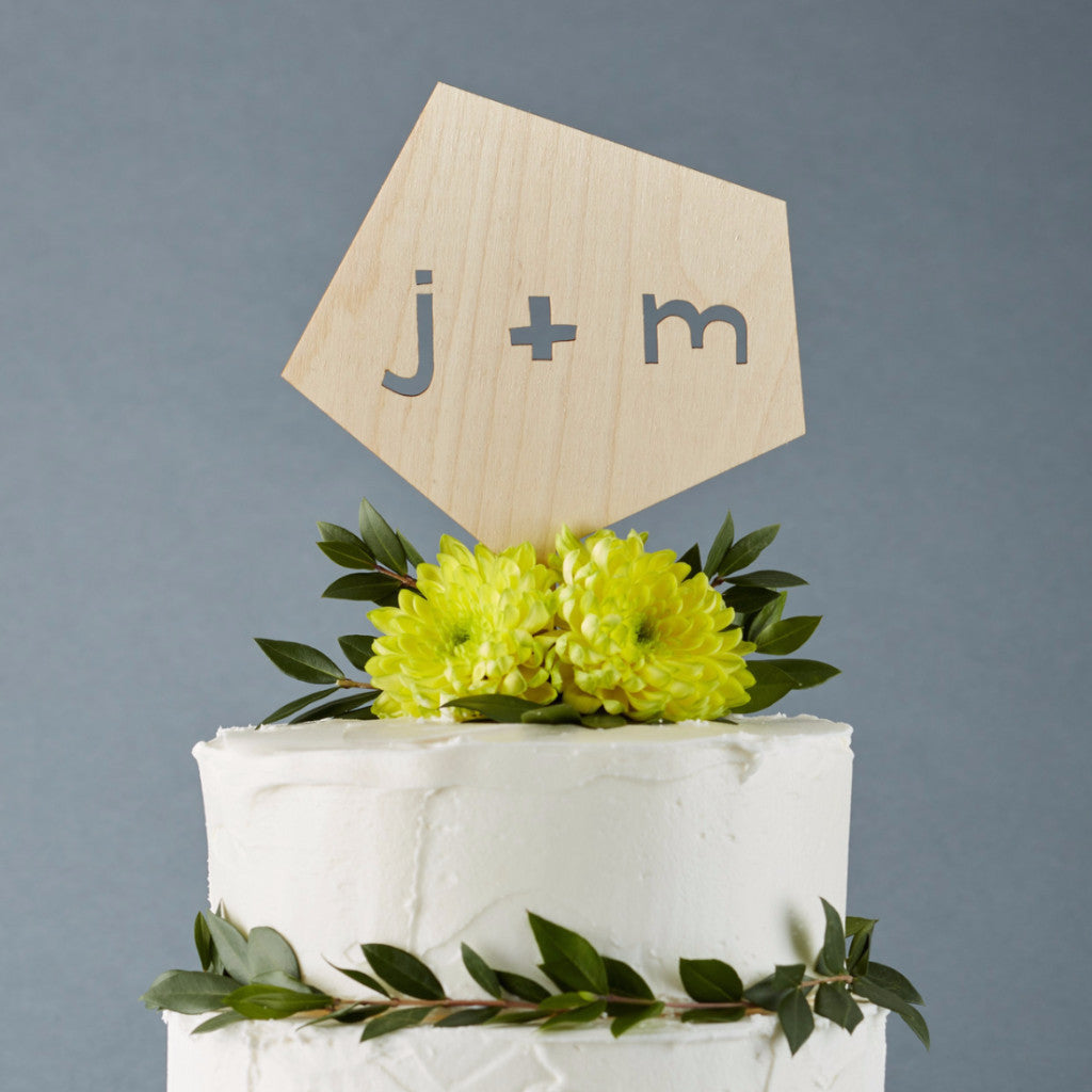 Lasercut Customizable Birch Wood Geometric Cake Topper, by Light + Paper, Made in Toronto