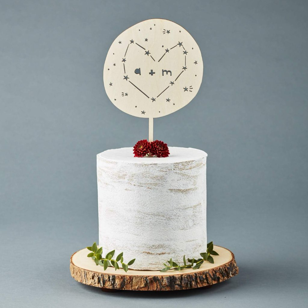 Lasercut Customizable Birch Wood Constellation Heart Cake Topper, by Light + Paper, Made in Toronto