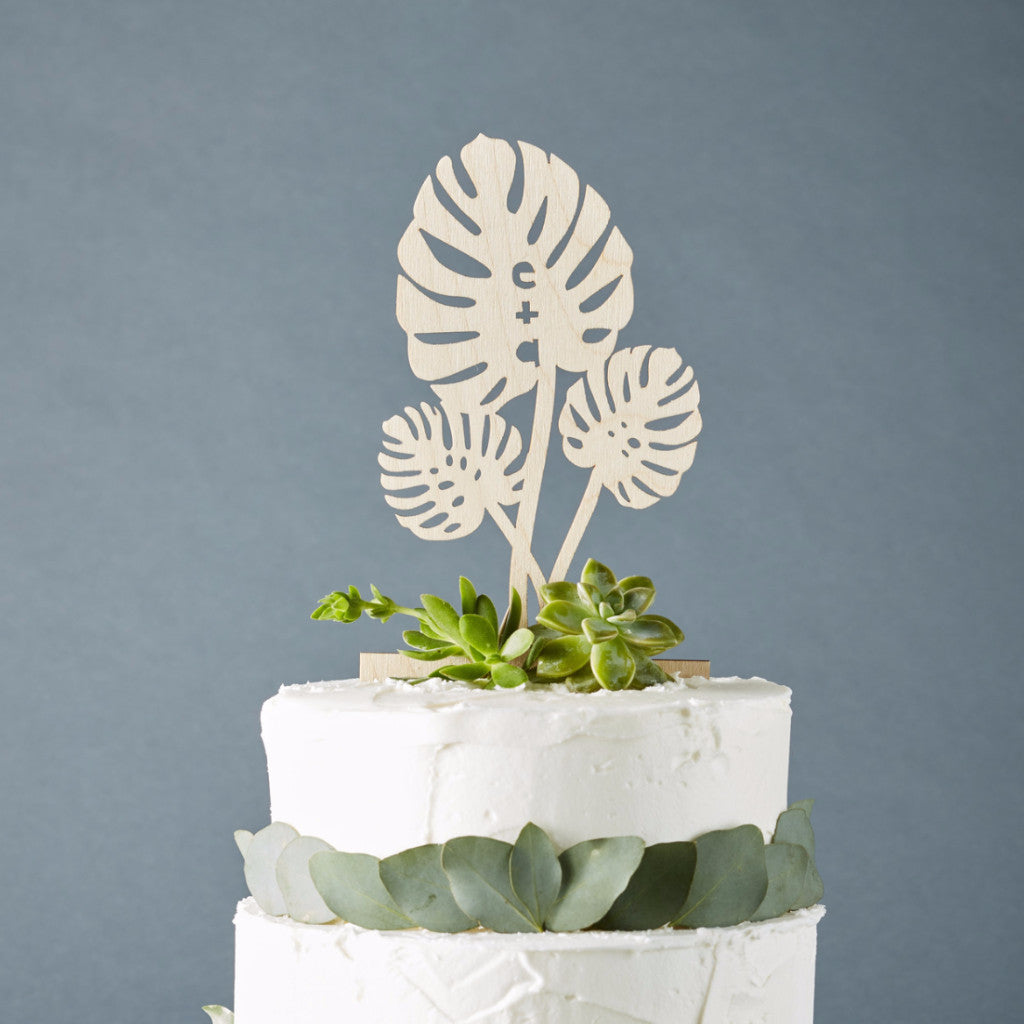Custom Monstera Leaves Initials Wedding Cake Topper