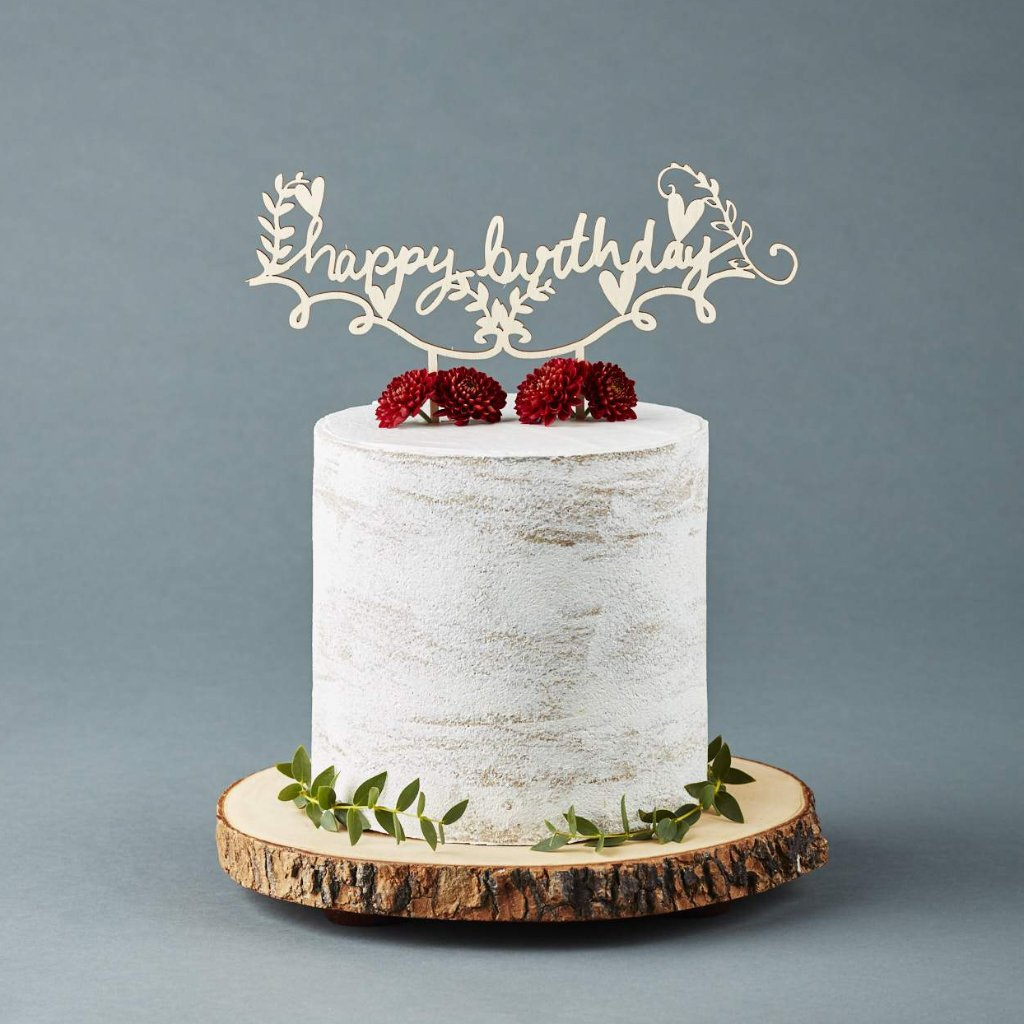 Rustic Handwritten Happy Birthday Cake Topper