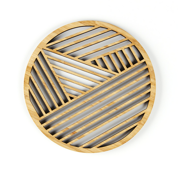 Laser-Cut Artwork - Geometric Bamboo Trivet