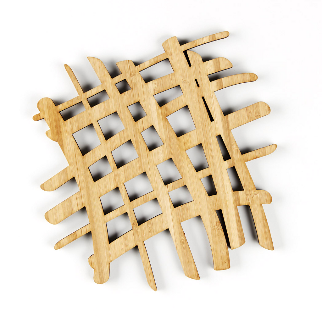 Laser-Cut Artwork - Abstract Bamboo Trivet