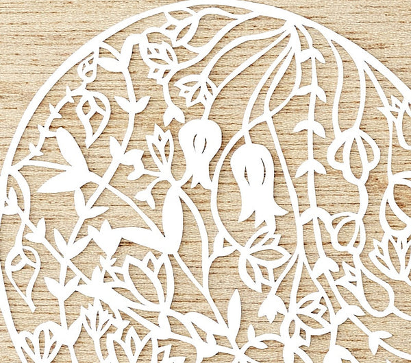 Hand-Cut Papercutting Artwork - Floral Heart