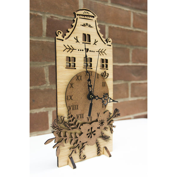Laser-Cut Artwork Bamboo Clock - Amsterdam Row House